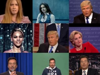 A collage of deep fake images