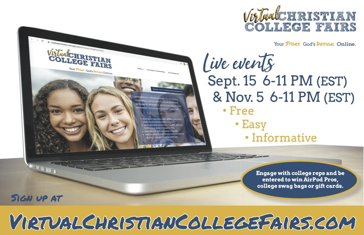 Virtual Christian College Fair invitation graphic
