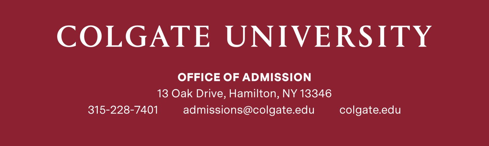 Colgate University footer and social icons