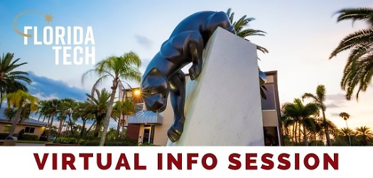 Panther statue and Florida Tech logo with text: Virtual Info Session